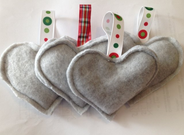 Grey heart ornaments from the Use Your Stash Challenge