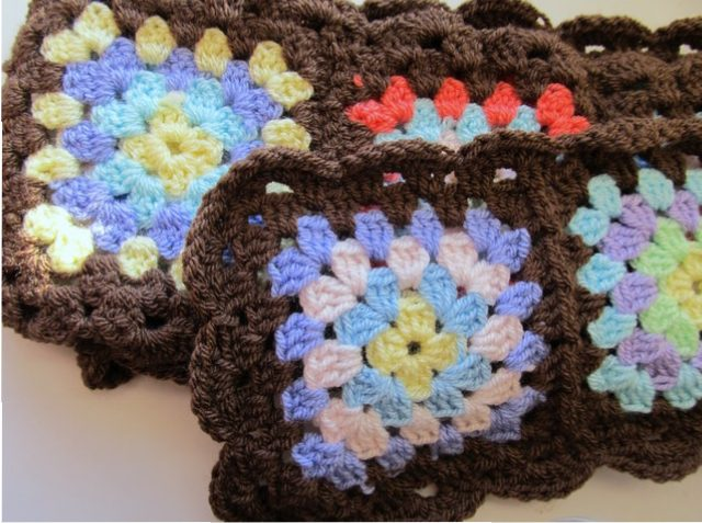 Granny Square Scarf With Scalloped Border Chocolate Dog Studio