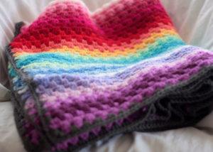 Rainbow Granny Stripe afghan