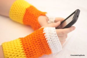 candy corn fingerless gloves