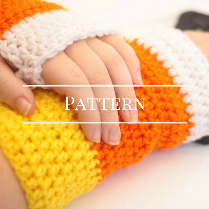 Candy corn fingerless gloves pattern
