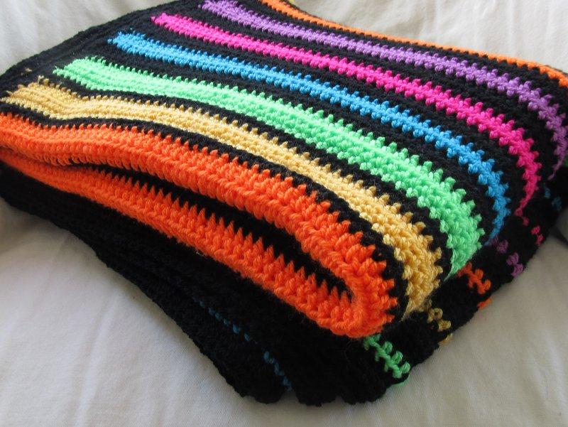 Neon Stripe Easy Crochet Afghan Pattern Chocolate Dog Studio
