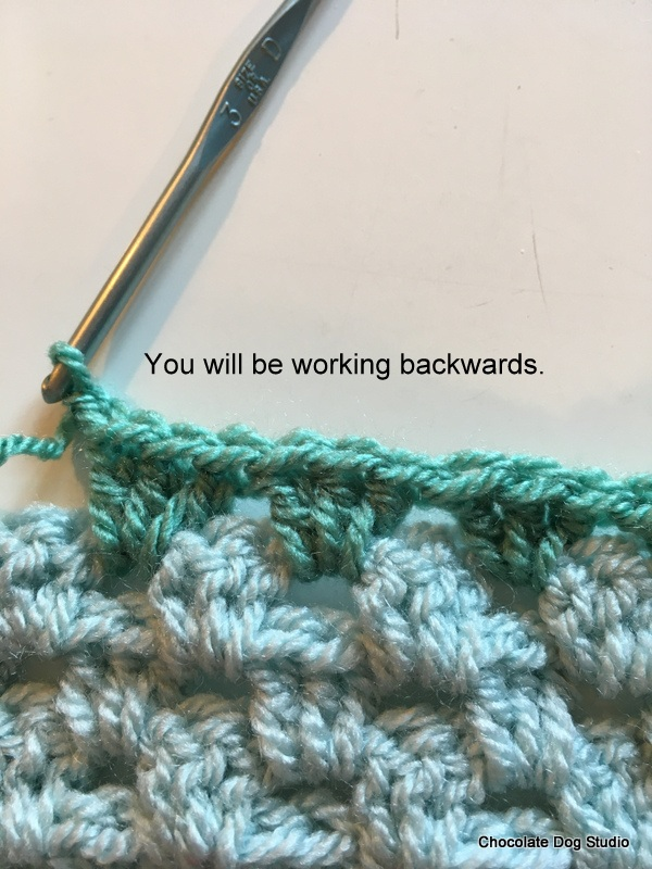 Beginning the reverse single crochet